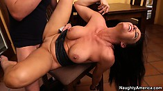 Busty brunette mom Vanilla DeVille gets hammered hard on the kitchen table