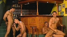 Four gays in an orgy of hardcore ass fucking and munching on dicks