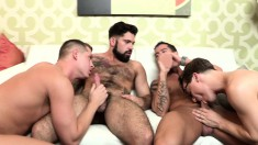 Gay foursome with nothing but head and they jerk off together